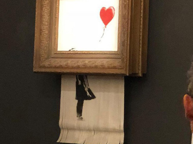 Banksy Painting Self-Destructs After Fetching $1.4 Million at Sotheby's