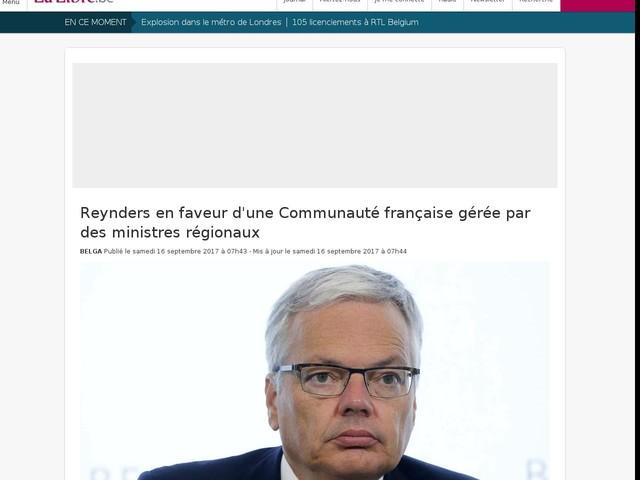 Reynders en faveur d'une Communauté française gérée par des ministres régionaux