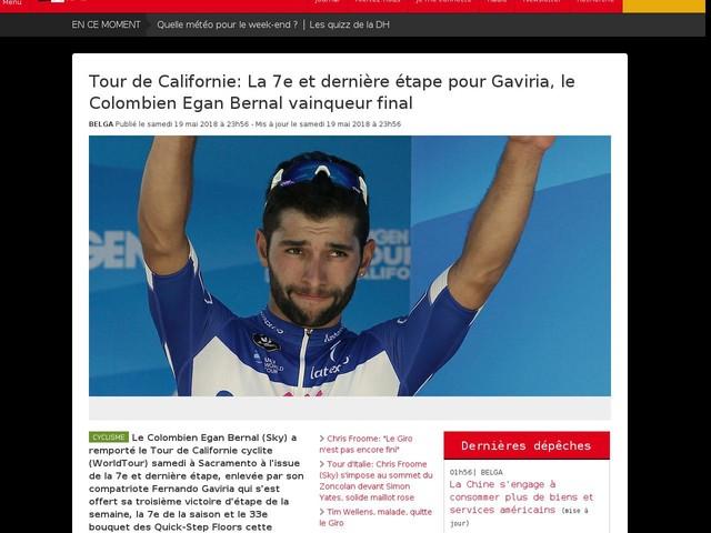 Tour de Californie: La 7e et dernière étape pour Gaviria, le Colombien Egan Bernal vainqueur final