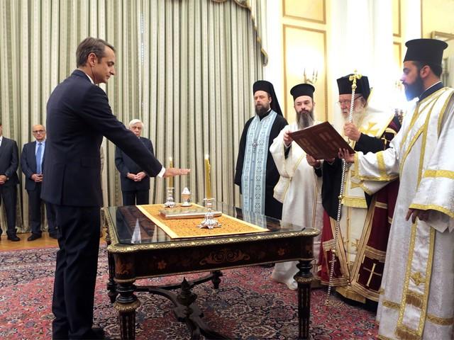 Kyriakos Mitsotakis legt eed af als nieuwe Griekse premier