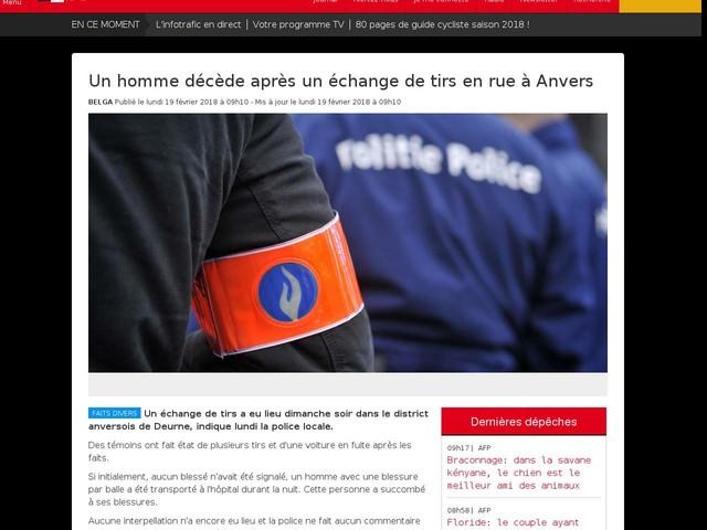 Un homme décède après un échange de tirs en rue à Anvers