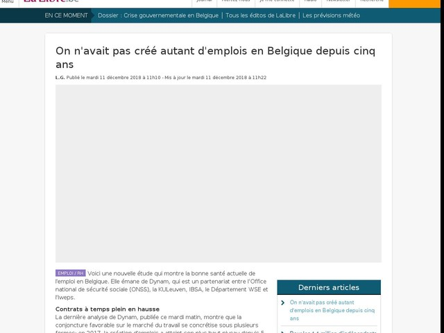 On n'avait pas créé autant d'emplois en Belgique depuis cinq ans