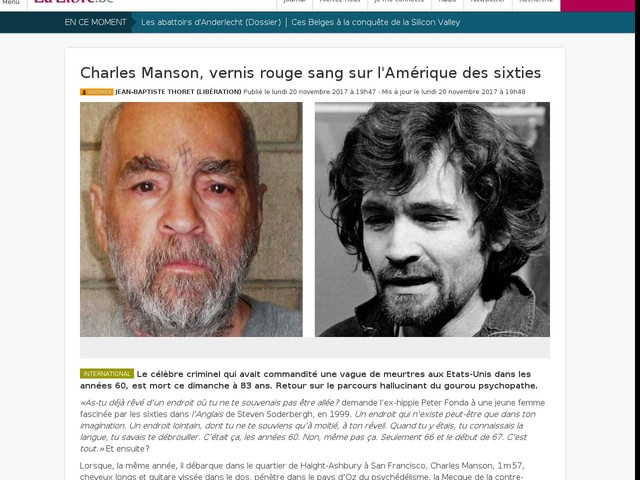 Charles Manson, vernis rouge sang sur l'Amérique des sixties