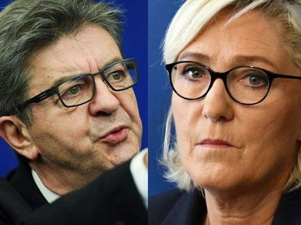 """""""Gilets jaunes"""": 82% des Français ne souhaitent pas d'alliance entre Mélenchon et Le Pen, selon un sondage"""