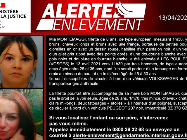 Alerte enlèvement déclenchée pour retrouver Mia, 8 ans, kidnappée dans les Vosges