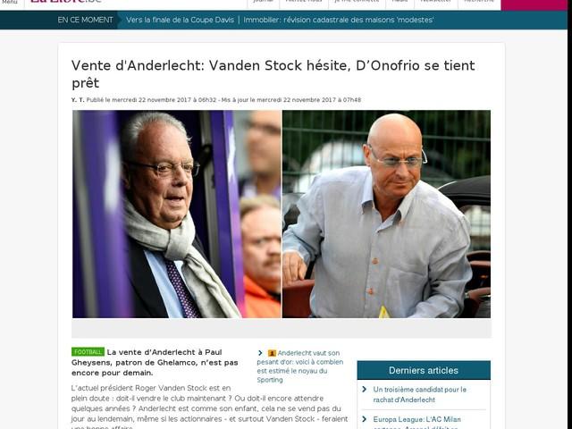 Vente d'Anderlecht: Vanden Stock hésite, D'Onofrio se tient prêt