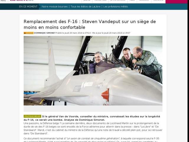 Remplacement des F-16 : Steven Vandeput sur un siège de moins en moins confortable
