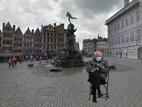 Ingeduffelde Bernie Sanders duikt ook in Antwerpen overal op
