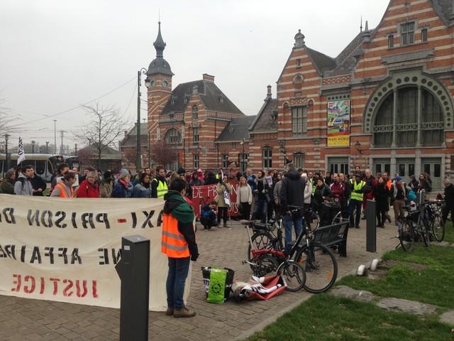 Protest tegen gevangenis van Haren in Schaarbeek