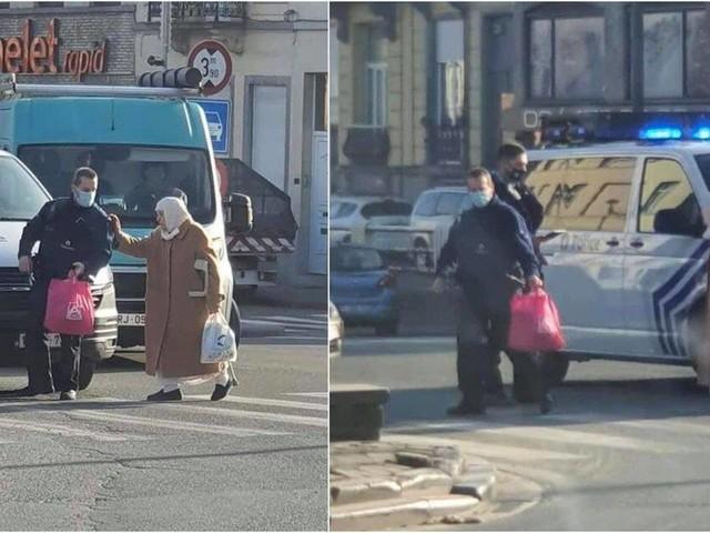 """La photo d'un policier aidant une dame à traverser devient virale : """"Beaucoup de citoyens auraient fait la même chose"""""""