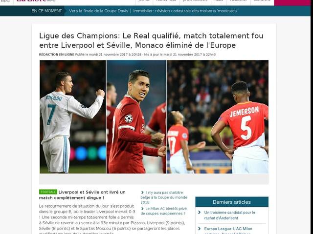 Ligue des Champions: Le Real qualifié, match totalement fou entre Liverpool et Séville, ...