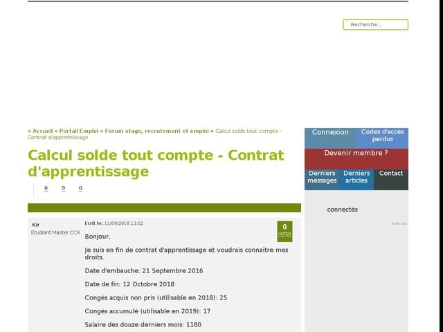 Calcul Solde Tout Compte Contrat D Apprentissage Finance