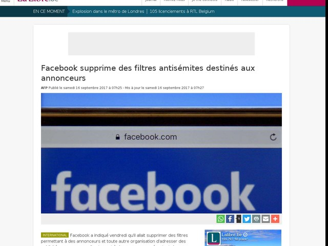 Facebook supprime des filtres antisémites destinés aux annonceurs