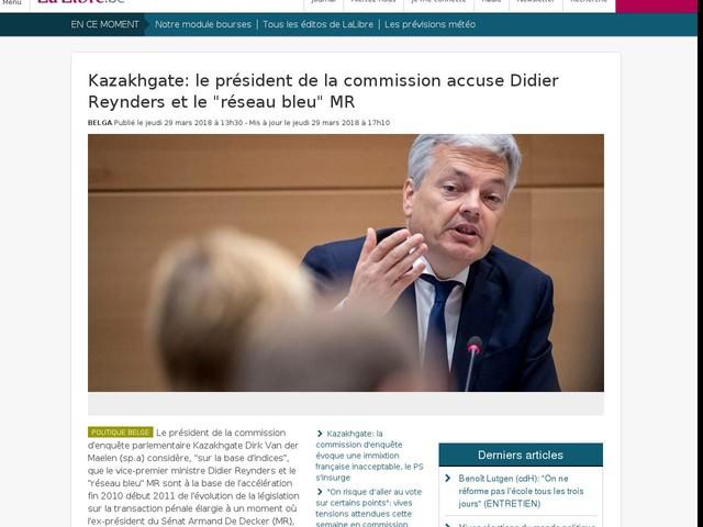 """Kazakhgate: le président de la commission accuse Didier Reynders et le """"réseau bleu"""" MR"""