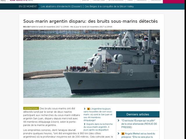 Sous-marin argentin disparu: des bruits sous-marins détectés