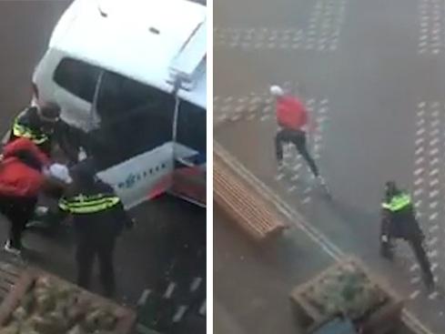 Politie blundert in Den Haag: agenten hebben even geen oog voor opgepakte man, en daar maakt hij handig gebruik van