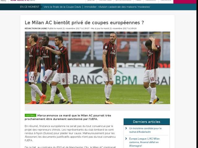Le Milan AC bientôt privé de coupes européennes ?