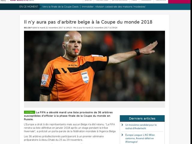 Il n'y aura pas d'arbitre belge à la Coupe du monde 2018