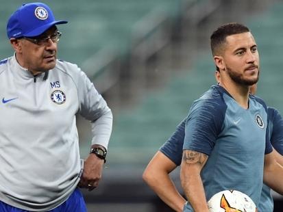 """Maurizio Sarri dézingue Eden Hazard : """"Je passe à un autre niveau avec Cristiano Ronaldo"""""""