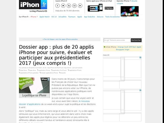 Dossier app : plus de 20 applis iPhone pour suivre, évaluer et participer aux présidentielles 2017 (jeux compris !)