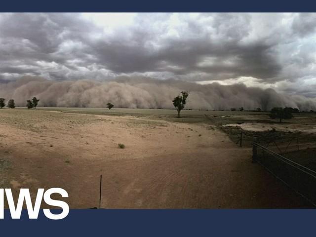 Stofstorm en hagel in Australië, terrein van extreme weersomstandigheden