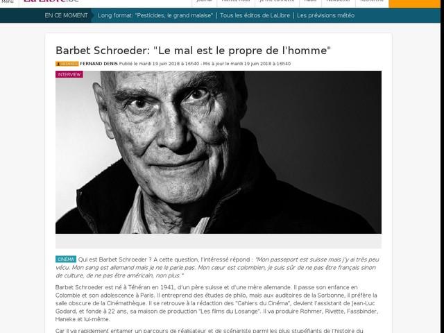 """Barbet Schroeder: """"Le mal est le propre de l'homme"""""""