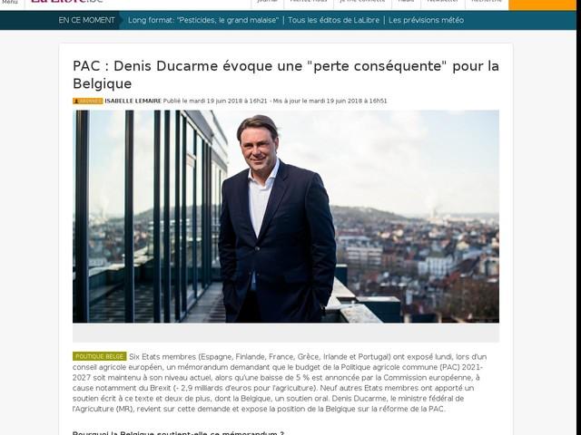 """PAC : Denis Ducarme évoque une """"perte conséquente"""" pour la Belgique (Mise à jour)"""