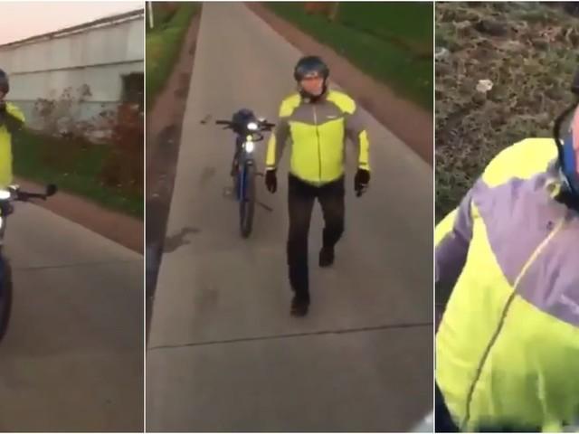 """Le ton monte entre un camionneur et un cycliste qui refuse de le laisser passer: """"15 tonnes ? Je fais 100 kilos, moi!"""" (VIDÉO)"""