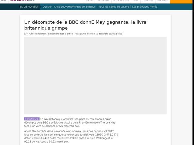 Un décompte de la BBC donnE May gagnante, la livre britannique grimpe