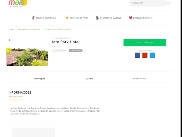 Iate Park Hotel - Ilha Comprida - SP