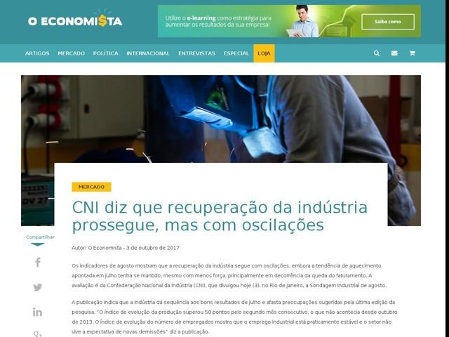 CNI diz que recuperação da indústria prossegue, mas com oscilações