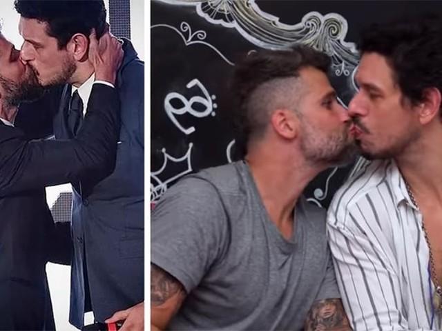 Bruno Gagliasso fica excitado em cena na Globo e dá beijo na boca de João Vicente de Castro