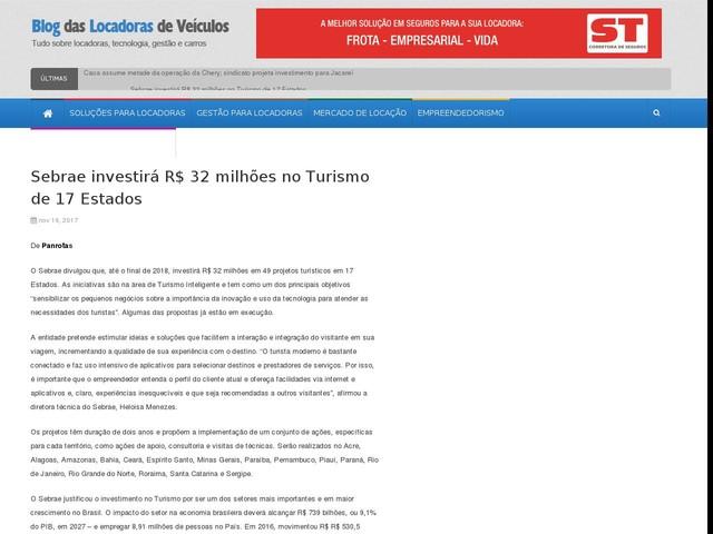 Sebrae investirá R$ 32 milhões no Turismo de 17 Estados