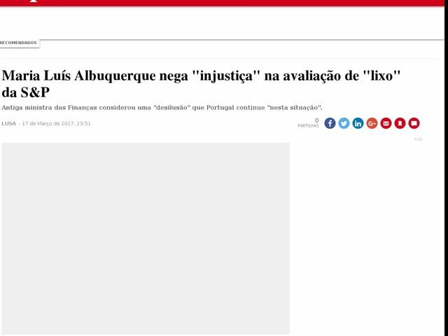 """Maria Luís Albuquerque nega """"injustiça"""" na avaliação de """"lixo"""" da S&P"""