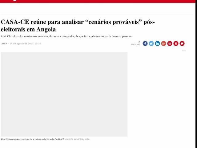 """CASA-CE reúne para analisar """"cenários prováveis"""" pós-eleitorais em Angola"""