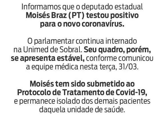 Deputado estadual Moisés Braz (PT) recebe diagnóstico positivo de novo coronavírus