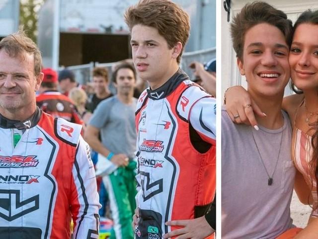 Filho de Rubens Barrichello segue os passos do pai nas pistas e ganha apoio da primeira namorada