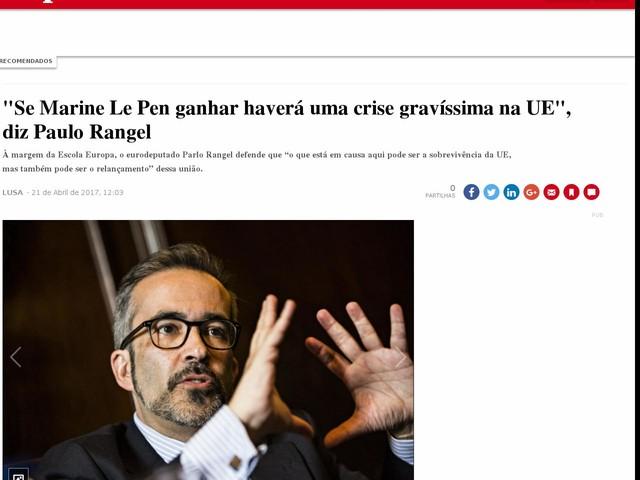 """""""Se Marine Le Pen ganhar haverá uma crise gravíssima na UE"""", diz Paulo Rangel"""