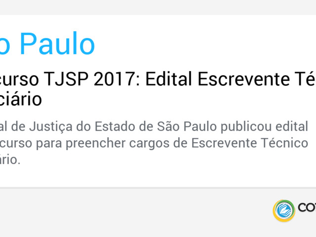 Concurso TJSP 2017: Edital Escrevente Técnico Judiciário