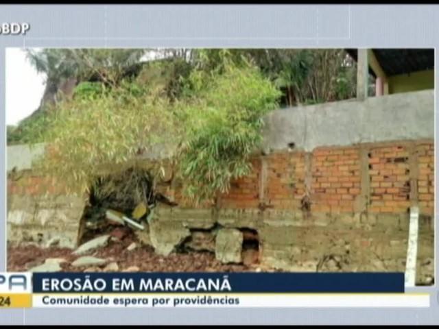 Equipe da Defesa Civil faz vistoria em área atingida por erosão em Maracanã, no nordeste do PA