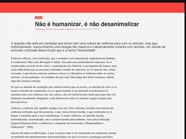 Não é humanizar, é não desanimalizar