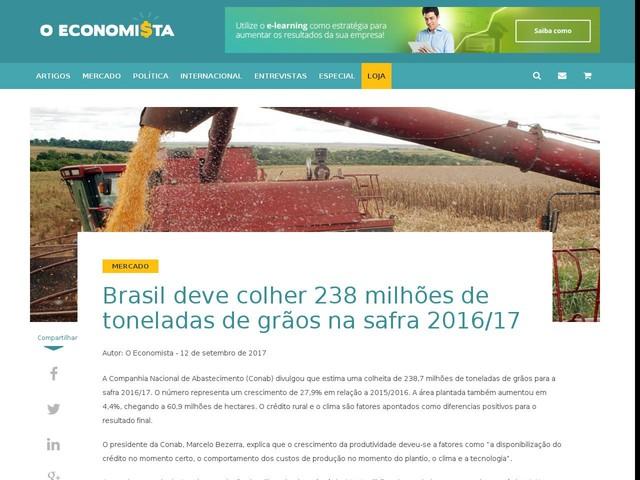 Brasil deve colher 238 milhões de toneladas de grãos na safra 2016/17