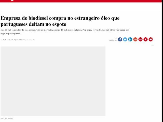 Empresa de biodiesel compra no estrangeiro óleo que portugueses deitam no esgoto