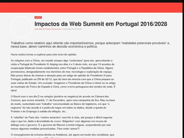 Impactos da Web Summit em Portugal 2016/2028