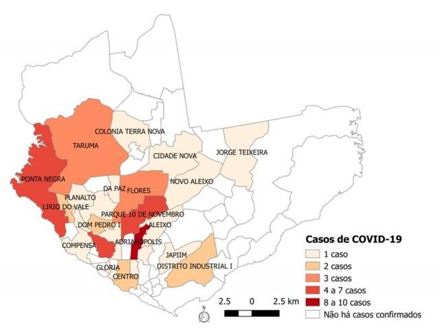 Em Manaus, 27 bairros têm casos de coronavírus; Adrianópolis concentra maior número