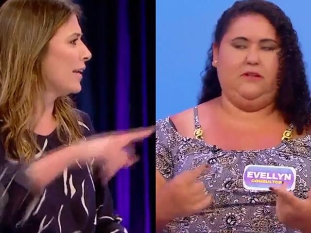 """Mulher dá em cima de Pato no SBT e é expulsa por Rebeca Abravanel: """"Vai embora"""""""