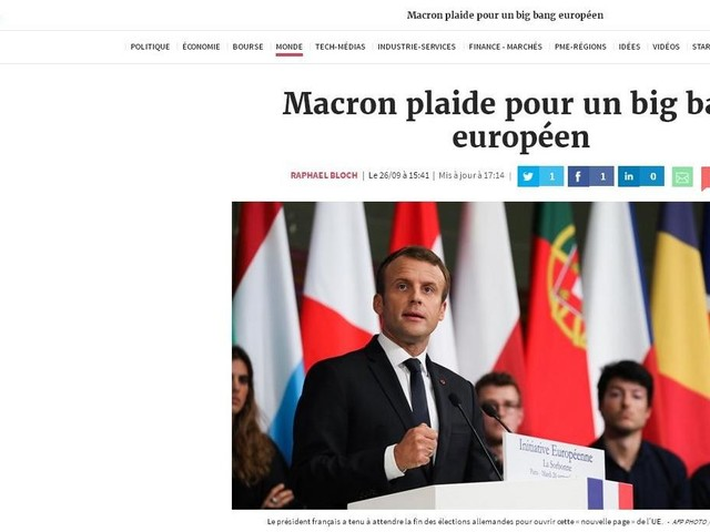 'Les Echos':Macron defende Europa mais forte e unida