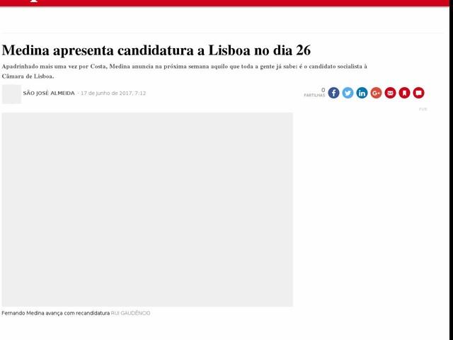 Medina apresenta candidatura a Lisboa no dia 26