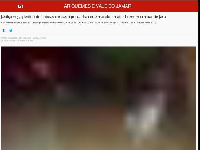 Justiça nega pedido de habeas corpus a pecuarista que mandou matar homem em bar de Jaru