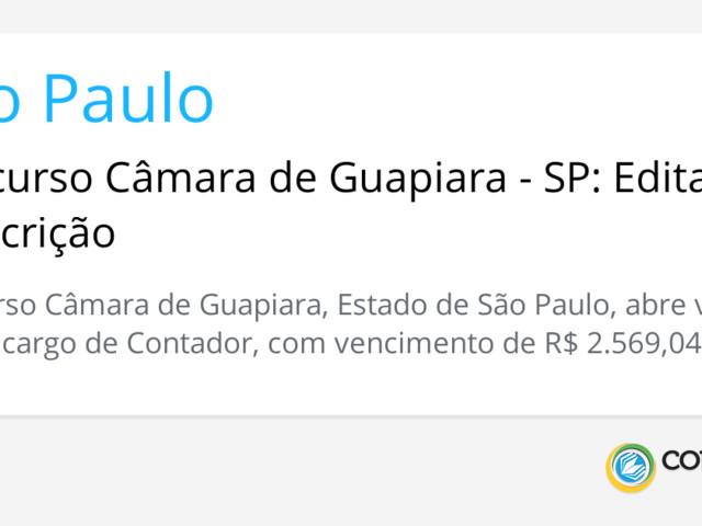 Concurso Câmara de Guapiara - SP: Edital e Inscrição